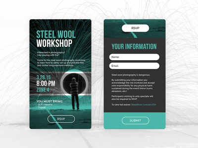 Steel Wool Workshop form sign up event rsvp signup workshop photography mobile website