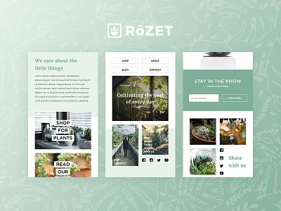 Rozet Mobile Website shop screens growth life green ui homepage plants garden website mobile