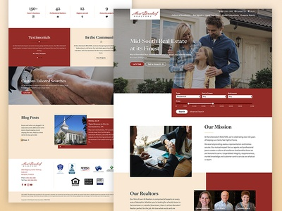 Marx-Bensdorf Website clean overlap hero filter testimonials stats realtor home realestate homepage desktop