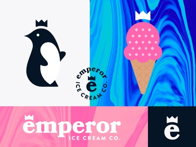 Emperor Ice Cream crown cone penguin emperor drip melt dessert ice cream typography logo branding food