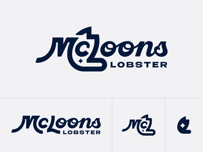 McLoons No. 1 responsive negative space star claw redesign brand branding typography lobster food logo