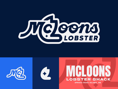 McLoons No. 2 brand food negative space claw lobster redesign illustration branding typography logo