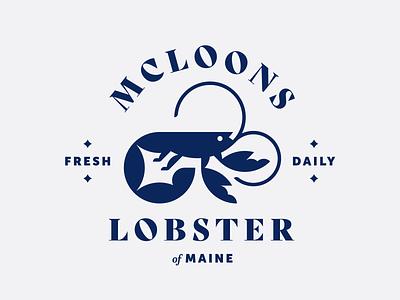 McLoons No. 4 logo minimal illustration animal food badge typography lobster branding restaurant