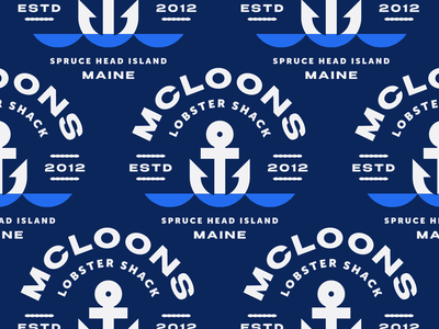 McLoons No. 6 pattern crest waves sea nautical restaurant lobster badge maine typography branding anchor