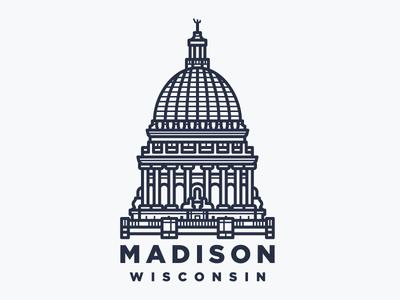 Madison, WI city architecture building capitol wisconsin madison line illustration