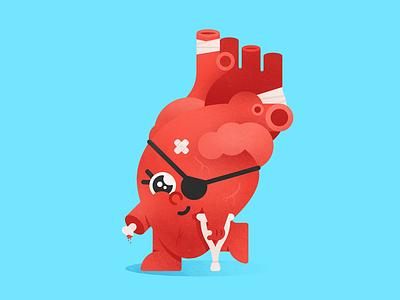 Broken Heart crutch valentine blood injured love broken bone heart
