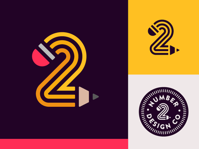 Number 2 number typography symbol logo two pencil