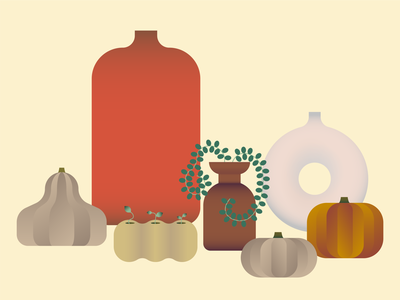 Autumn mood digitalillustration colourpalette vases vase pumpkins pumpkin shapes illustration design creative colors adobe illustrator mood autumn