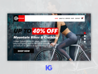 Landing Page for Mountain Bikes and Clothing Store
