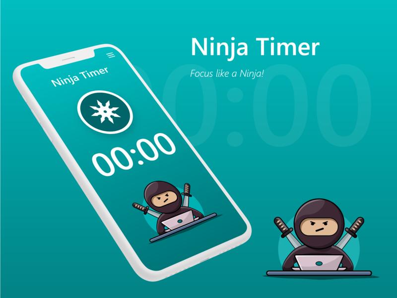 Pomodoro/Timer app concept focus illustration ninja mobile app timer app app timer pomodoro