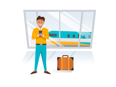 Flight booking app onboarding animation onboarding mobile illustrator after effects airport plane illustration booking flight animation
