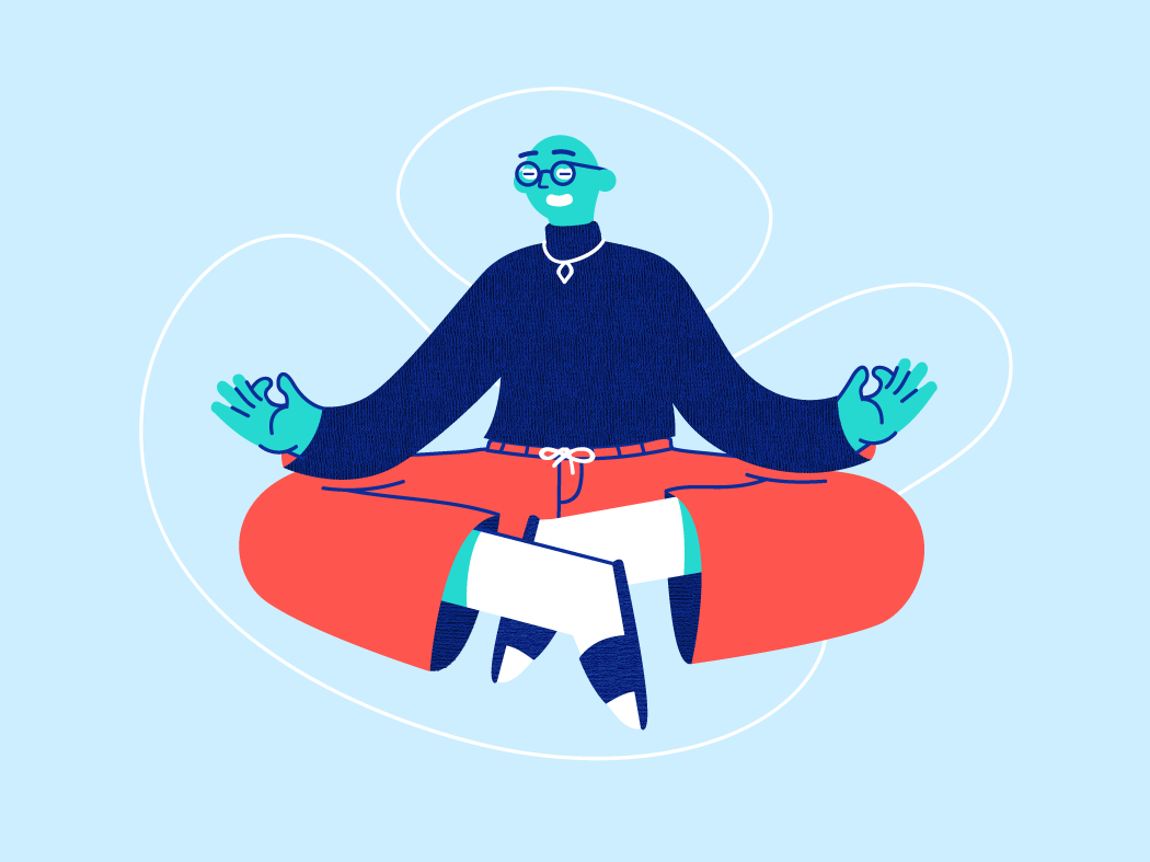 Mind & body connection atmospheric meditation design branding vector illustration