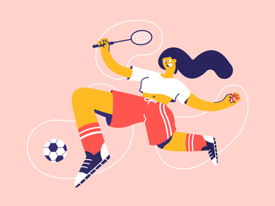 Exercise sports spot illustration atmospheric vector illustration