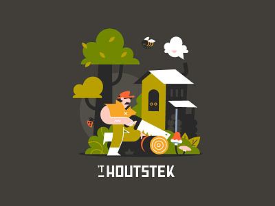 Illustration Houtstek vector typography branding illustration