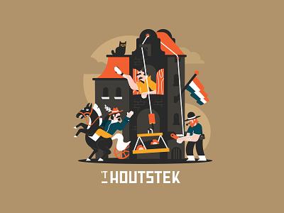 Houtstek 2 typography wood poster vector illustration