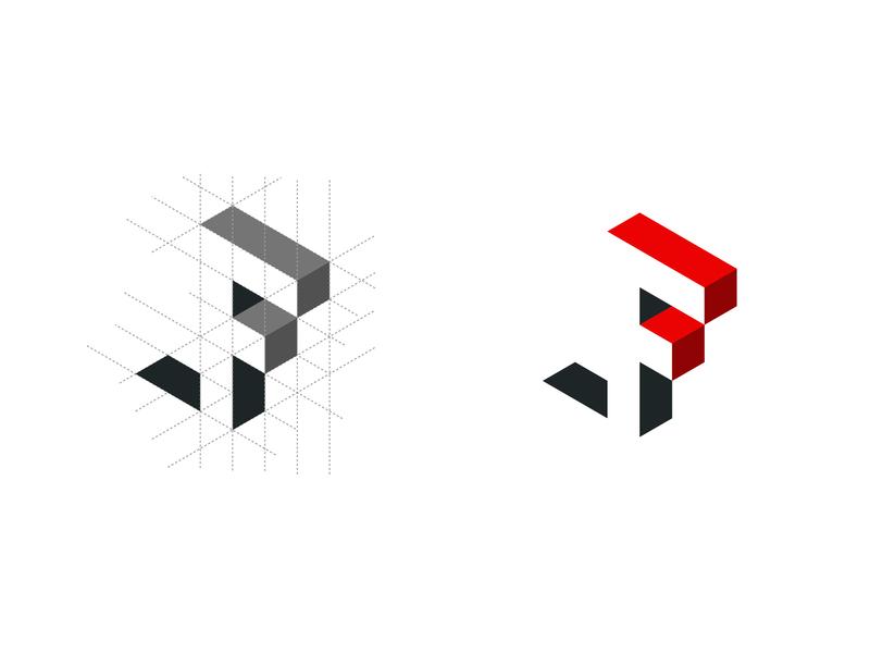 Isometric F negative space design letter f letter isomatric minimal typography logo