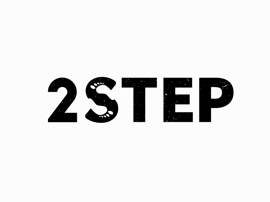 2STEP minimal logotype negative space logo negative space wordmark typography design logo