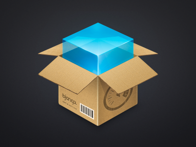 iStat Server 2 Installer icon (WIP #2) cardboard blue parcel package server mac icon