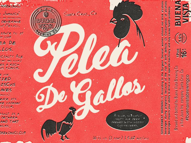 Pelea De Gallos | Option 2 | Stage 5 minimal label flat vector print typography design branding screen print