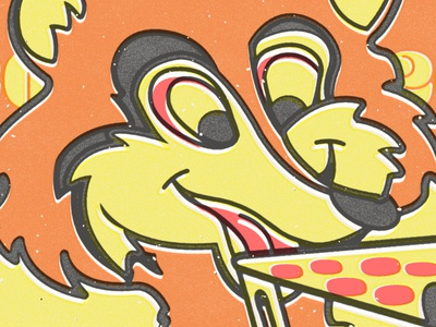 Fox & Pizza vector screen print poster minimal flat illustration screen print design print