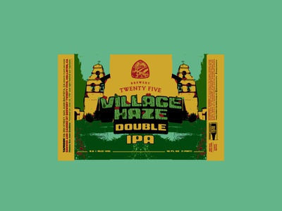 Village Haze - DIPA screen print design label mexican art illustration vector typography minimal digital illustration beer beer branding beer can label design