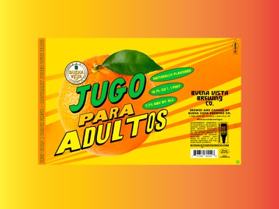 Jugo Para Adultos - 16oz label branding mexican art craft beer label craftbeer identity design minimal typography vector juice orange logo oranges
