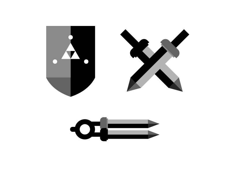 Zelda Guide Logo Ideas logocore mark simple illustration icon cel shading concept illustrator graphic zelda icons zelda compass swords shield design logos logo design vector identity logo