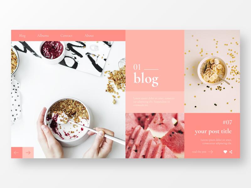 Landing Page for Personal Blog food app ui daily blog design blog web website ui ux design icon illustration clean ios ux ui identity branding brand app minimal design