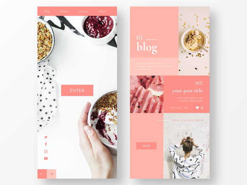 Personal Blog in Mobile Version blog design blog cover ui daily food app food blog logo mobile website web clean ux ui ios identity branding brand app minimal design