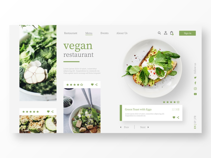 Vegan Restaurant Home Page icon restaurant design food app restaurant app restaurant vegan mobile website web clean ux ui ios identity branding brand app minimal design