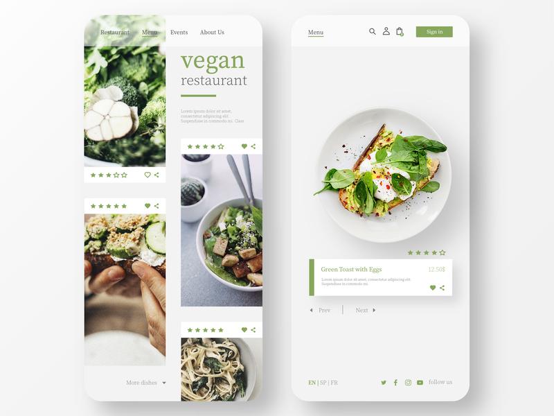 Vegan Restaurant App Design ui ux design ui ux restaurant design vegan restaurant app food app mobile icon website web clean ux ui ios identity branding brand app minimal design