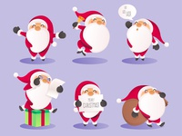 Santa Claus Character in Different Actions