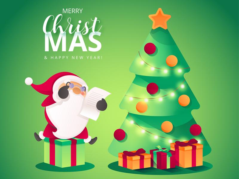 Christmas Scene with Santa's Character scene illustration vector papa noel santa claus santa christmas tree graphic design cartoon design christmas card christmas cartoon character cartoon illustration cartoon avatar