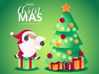 Christmas Scene with Santa's Character