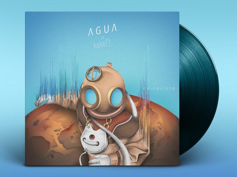 """Agua en Marte"" EP Cover Artwork explore vinyl album cover identity branding blue cosmonaut astronaut mars planet space cover art music ep album artwork cover illustration minimal design"