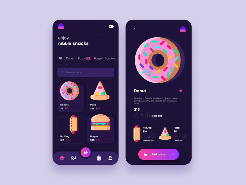 DARK MODE nibble mobile app UI design snacks ui design minimal icon ui app branding ux illustration