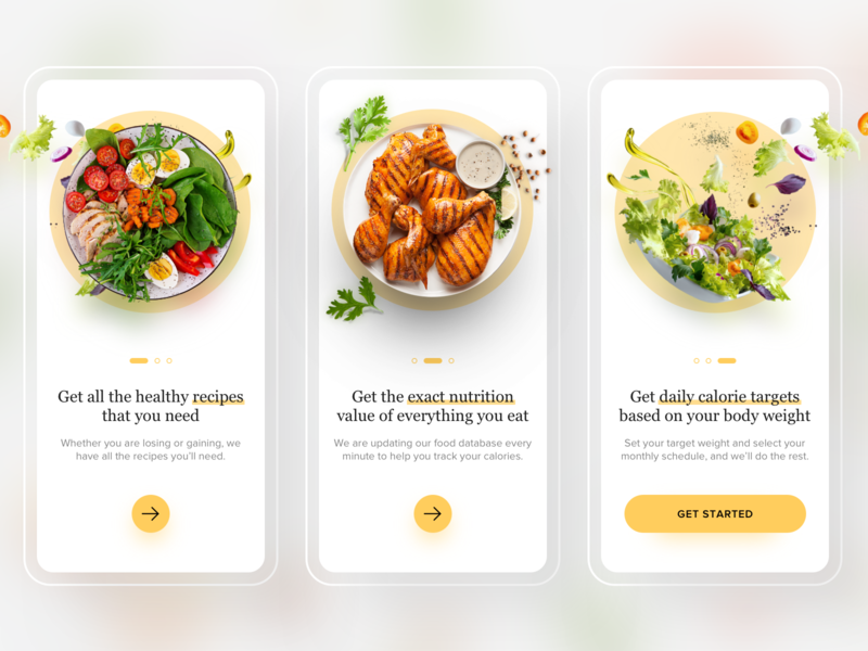 Food App Onboarding ux design product design typography colors nutrition app food app onboarding food app design calorie app calorie recipe app food and drink ui design mobile mobile app onboarding ui onboarding screen onboarding food food app ui food app