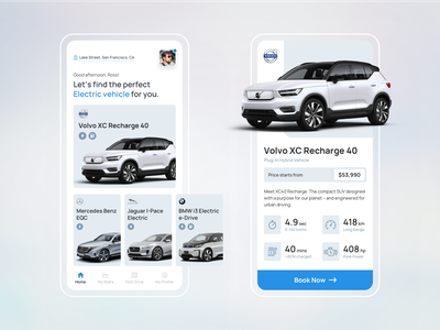 Electric Vehicle App uidesign ui mobile app design mobile app app app design productdesign visual design volvo modern design cards ui car product page booking app car booking car booking app car app electric cars electric vehicle app electric vehicle