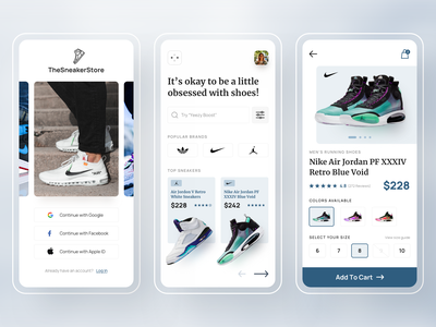 Online Sneaker Store uidesign ux ui design fashion app mobile app design mobile app mobile ui login onboarding minimal shoes online store online shop ecommerce app ecommerce shoes store shoes app sneaker shoe