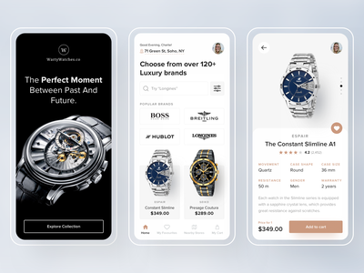 Online Watch Store - App visual design branding mobile app design daily ui product page ui  ux product design online shopping ecommerce ecommerce app app onboarding mobile ui mobile design app design ios online shop online store watch app watch