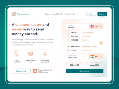Currency Exchange Website Design Concept fintech website web design glassmorphism clean hero banner ui ux app web website design user experience product design landing page fintech investment finance app currency money transfer finance currency converter currency exchange