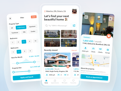 Real Estate Mobile App Design ui design ios product design ui  ux app design app ui mobile ui filters map cards ui real estate app home home rental real estate agency rental app rental apartment app apartment property real estate