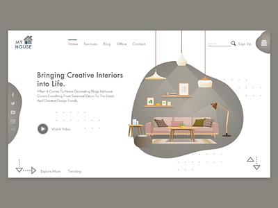 My House Website ( Concept ) visualization illustration construction xd illustrator design visual ux ui app architecture furniture interiordesign website interior