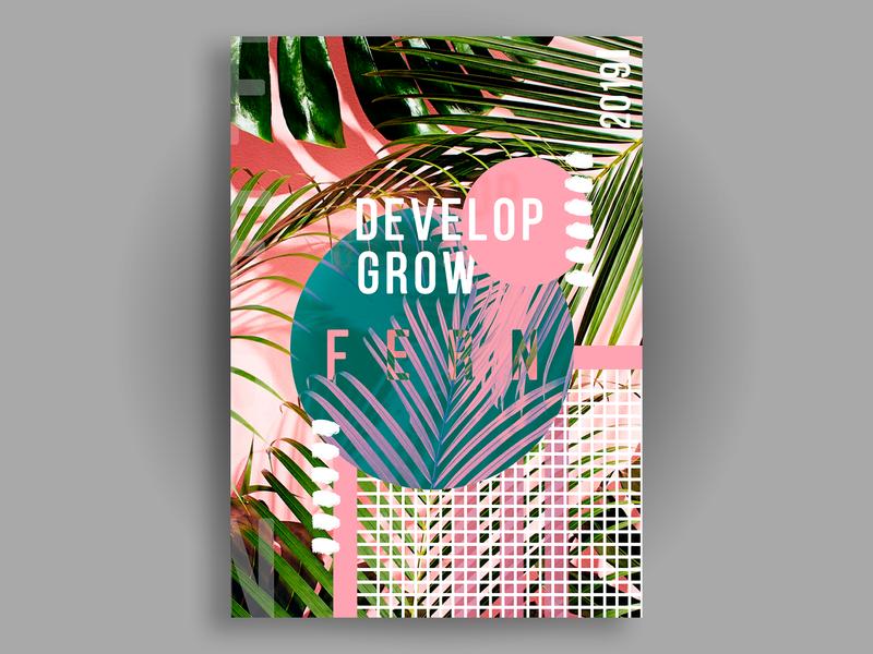 Fern design плоский плакат кактус дизайн
