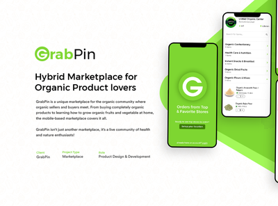 GrabPin - Hybrid Marketplace for Organic Product lovers app design healthy app organic ordering organic product ordering app marketplace app mobile app design grocery app delivery app app branding design ux ui