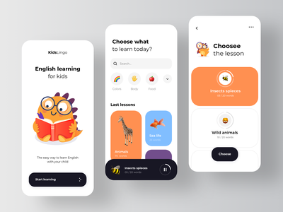 Learning English App for children learning management system learning platform learning app education online education courses lms rondesignlab rondesign ux ui design