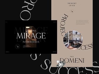 Christina Mirage (interior designer) minimal branding website adobe xd web ui ux designs shot design