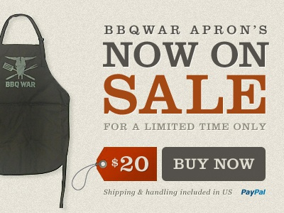 Bbqwar aprons now on sale