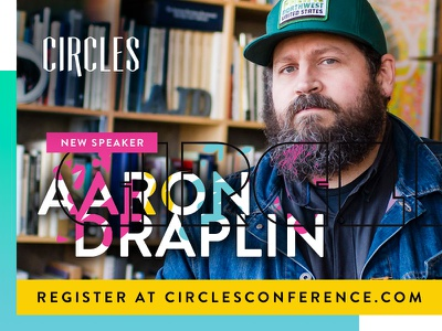 Aaron Draplin is coming to Circles AD retro 90s 80s yellow pink ad