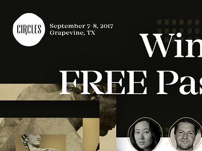 Free Pass To Circles Conference flyer ancient circles greek gold social media design